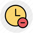 alarm, circle, clock, hours, minus, watch icon