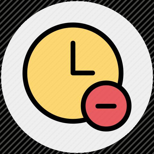 alarm, circle, clock, hours, minus, watch icon