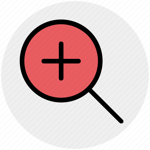 find, in, magnifier, magnifier glass, plus, zoom icon