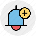 add, alert, bell, plus, ring, school bell icon