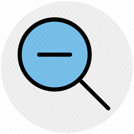 find, magnifier, magnifier glass, minus, out, zoom icon