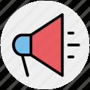 advertise, loudspeaker, megaphone, promote, round, volume