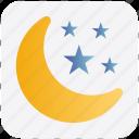moon, moon and stars, night, sleep, stars icon