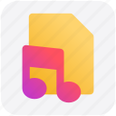 audio page, file, music, paper icon
