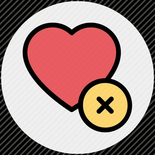 delete, favorite, heart, like, love, romantic icon