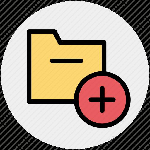 archive, computer folder, file folder, folder, plus, saving folder icon