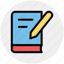 book, close book, library, pencil, pencil and book, student book, writing icon