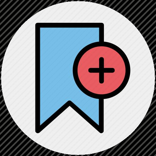 add, aids, book, bookmark, plus sign, ribbon icon