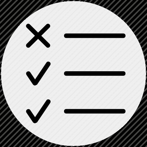 check mark, checklist, cross, list, task, tick, tick mark icon