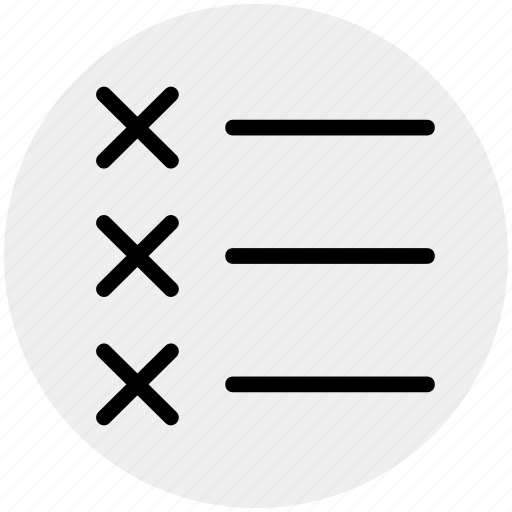 check mark, checklist, cross, cross mark, list, task icon