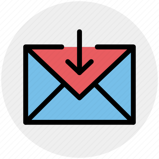 arrow, down, email, envelope, letter, mail, message icon