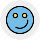 emoji, emotion, face, smiley face, smirking icon
