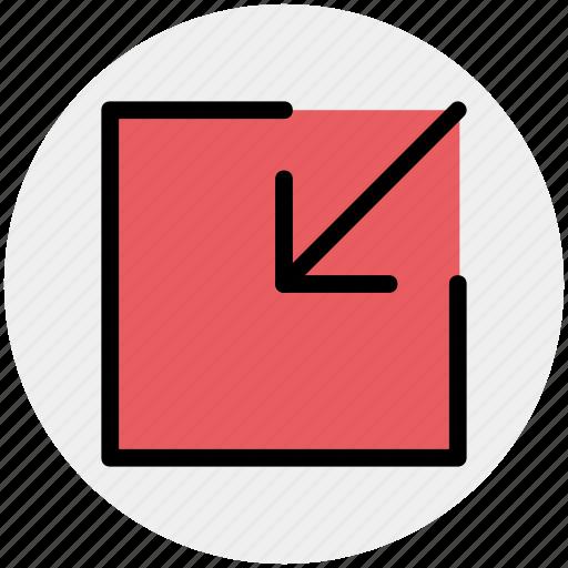 arrow, box, chart, down, down arrow icon
