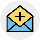 add, email, envelope, letter, message, open envelope, plus icon