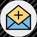add, email, envelope, letter, message, open envelope, plus