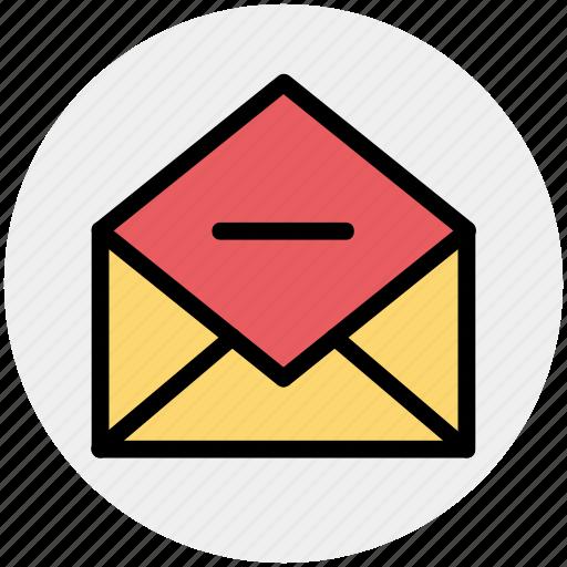 email, envelope, letter, message, minus, open envelope, remove icon