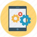 mobile gears, mobile options, mobile settings, options, settings, tools icon