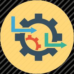 cogwheels, gearwheel, gearwheel with arrows, options, settings, tools icon