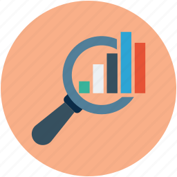 analysis, analytics, bar chart, magnifier, magnifying, search bar chart icon