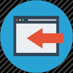 back arrow, browser, site, website, website with arrow icon