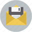 data storage, envelope and floppy, floppy in envelope, ibox storage, storage concept icon