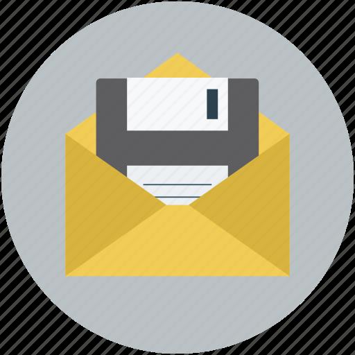 data storage, envelope and floppy, floppy in envelope, ibox storage, storage concept icon