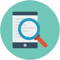 find, finding, magnifier on mobile, mobile with magnifier, search, searching icon