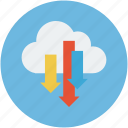 cloud and download signs, cloud computing, cloud download, cloud downloading, cloud network icon