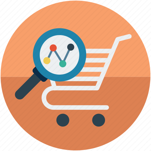 cart with magnifier, e commerce concept, ecommerce, online shopping analysis, online shopping concept, shopping cart with magnifier icon