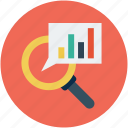 analysis, analytics, bar chart with magnifier, increasing chart, profit, statistics icon