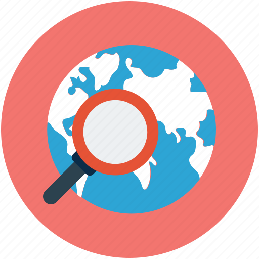 globe with magnifier, international search, internet search, magnifier and globe, research icon