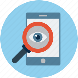 find, finding, magnifier on mobile, mobile with magnifier, search, searching, view icon