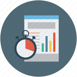 business time, graph with stopwatch, stopwatch and graph, success business, time is money icon