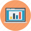 bar graph, business report, graph chart, online business graph, online business report, screen graph icon