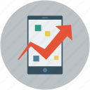 mobile, mobile communications, mobile with infographic, mobile with progressive arrow icon