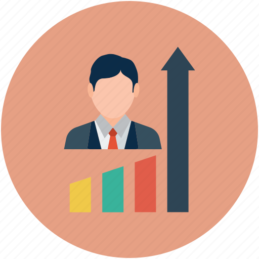 bar chart, business concept, business graph, business person, businessman icon