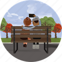 app, bench, couple, love, phone, photo, selfie icon
