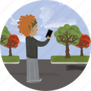 app, boy, city, illustration, park, phone, photo icon