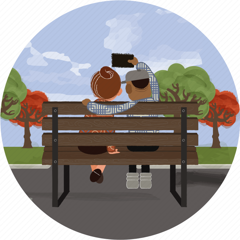 app, bench, couple, love, phone, photo, selfie icon
