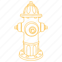 fire, hose, hydrant, street, utility, water icon
