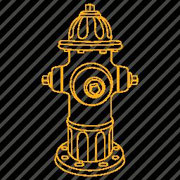 fire, hose, hydrant, street, urban, utility, water icon