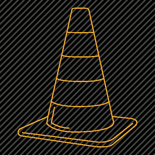 alert, cone, construction, orange, street, traffic icon