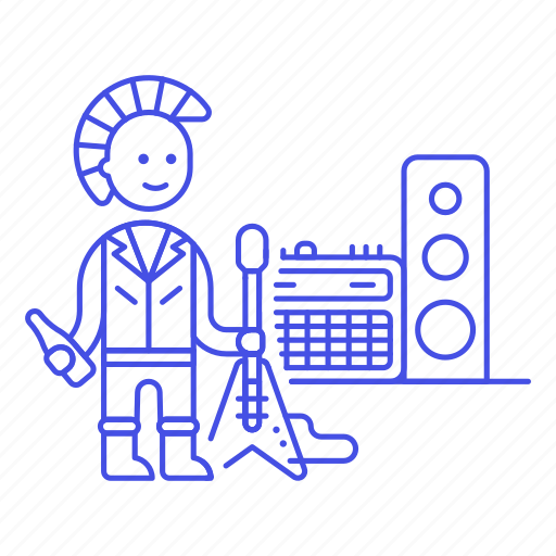 1, 2, amplifier, electric, guitar, hair, male, mohawk, music, punk, punker, rock, speaker, tribes, urban icon