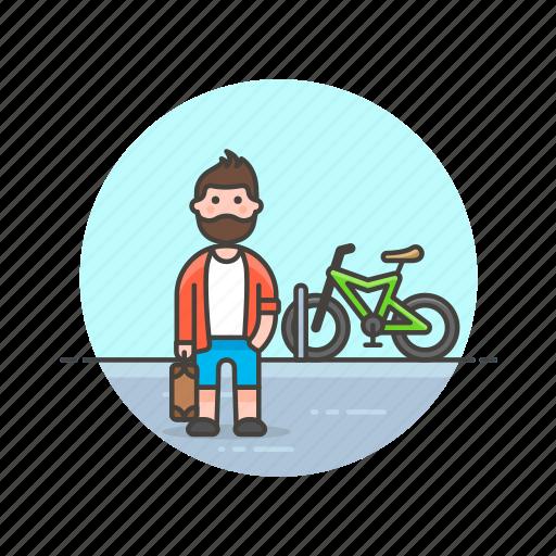 bike, cyclist, man, ride, transport, urban, vehicle icon
