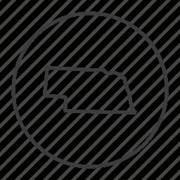 american, location, map, navigation, nebraska, state, united states icon