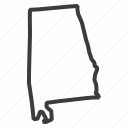alabama, american, location, map, navigation, state, united states icon