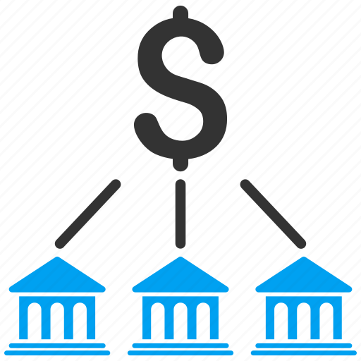 bank organization, banking, business, finance, links, money, structure icon