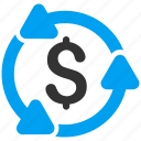 business, cycle, dollar, finance, financial, loop, money circulation icon