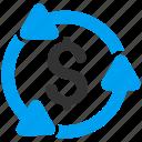business, cycle, dollar, finance, financial, loop, money circulation icon