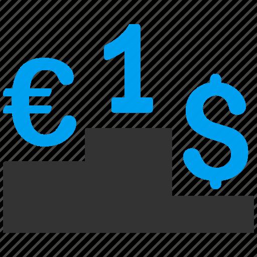 competition, dollar, economy, euro, finance, leadership, money icon